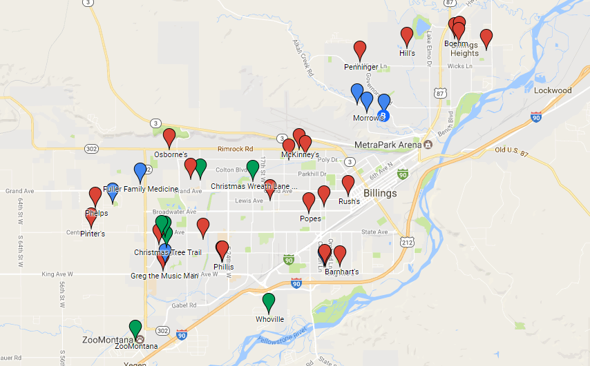 Billings Christmas lights map highlights holiday spirit througho