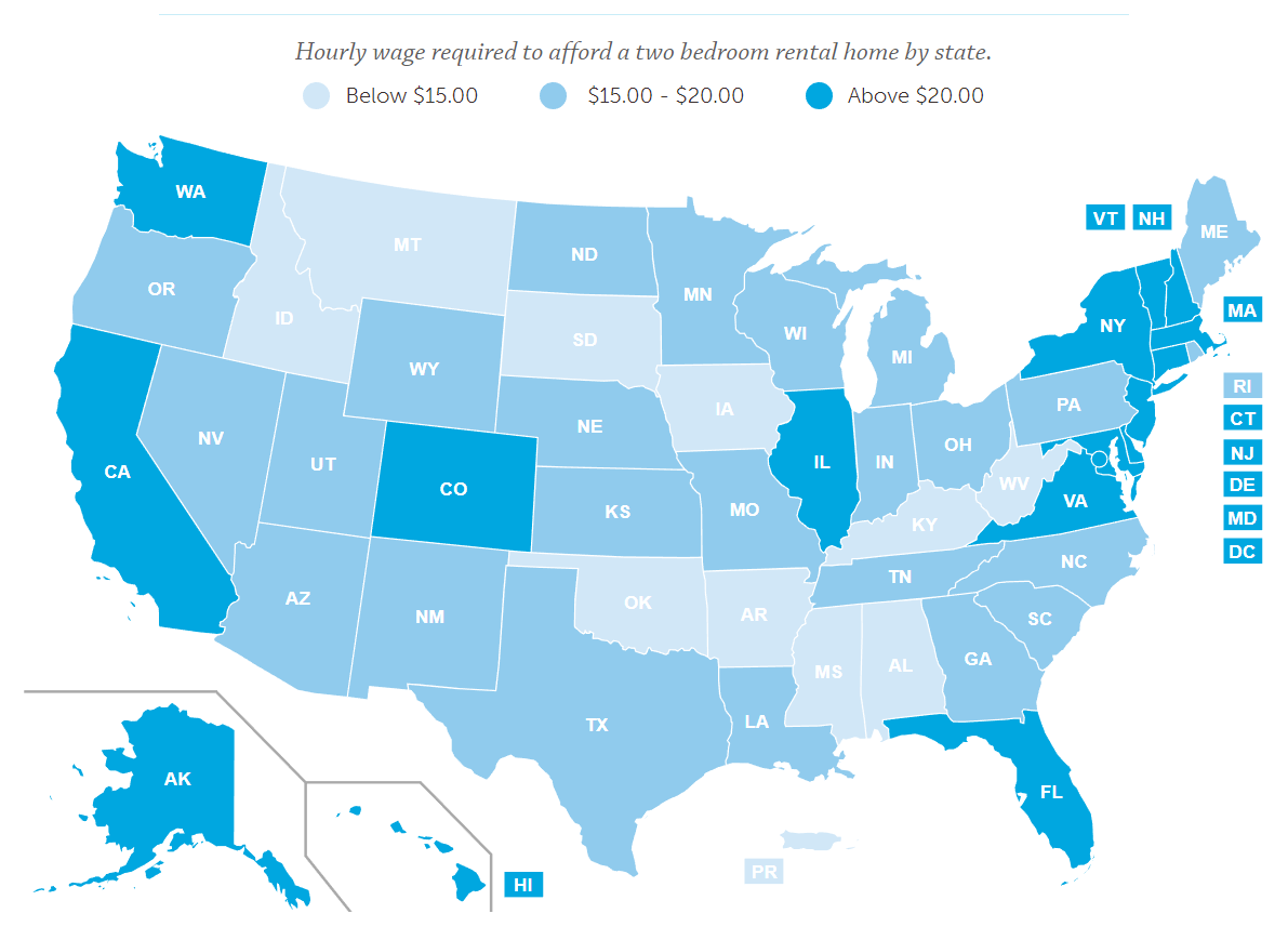 Finding Affordable Rent On A Minimum Wage Is Nearly Impossible - Minimum wage us map