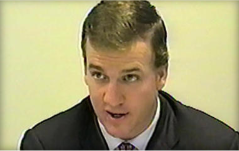 Peyton mannings accuser speaks out on alleged sexual harassment peyton manning shown at a 2003 deposition courtesy of cbs news voltagebd Choice Image
