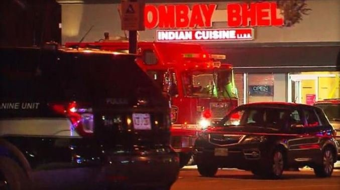 Emergency services vehicles are seen outside the Bombay Bhel restaurant in Mississaugua, Canada, a suburb of Toronto, after an explosion on May 24, 2018. (CTV)