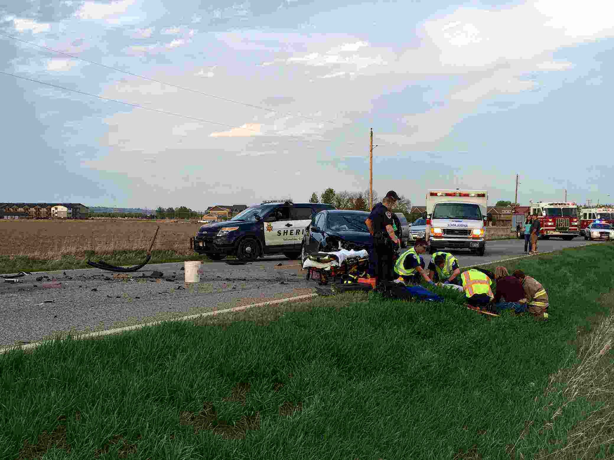 Crews worked on the driver of the vehicle before transporting him to the hospital.