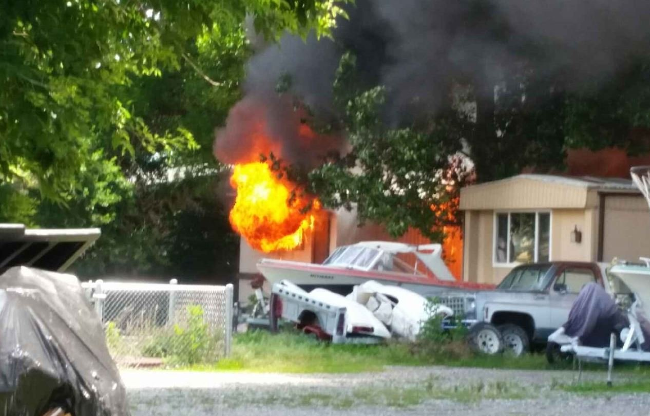 fire destroys two huntley trailer houses damages third home