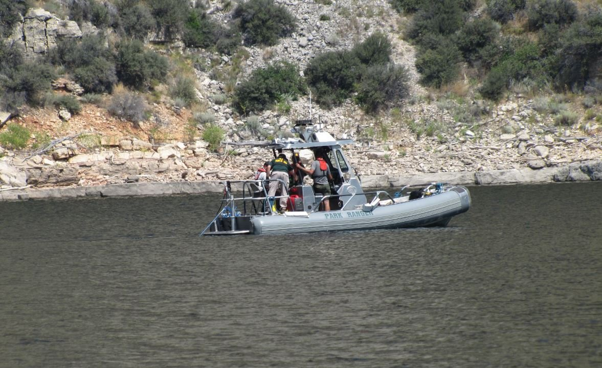 A Submerged Resource Center boat conducted side scans in the lake on Tuesday. (National Park Service photo)